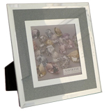 Sixtrees Jasmine Blue 4x4 Inch Mirror Glass Photo Frame Overall Size 7 Inch Square