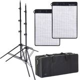 Dorr FX-3040 Flexible LED Light Panel Kit | 2 Light Panels | 2 Stands | 1 Bag | 5600K Daylight