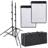 Dorr FX-4555 LED Flexible Light Panel Kit | 2 Light Panels | 2 Stands | 1 Bag | Daylight 5600K