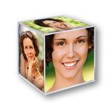 Acrylic Small Photo Cube for 6 Photographs