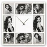 Savona Clock Multi Aperture Photo Frame For 8 Photos Overall Size 14