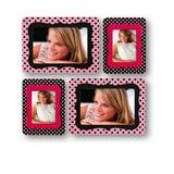 Sticky Photo Frame for 4 Photos - Pink and Black