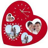 Serena Heart Shaped Multi Aperture Frame and Wall Clock