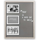 Sage Green Peg Letter Board with Removeable Letters and 3 6x4 Inch Photo Frames