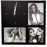 ZEP Molveno Black Multi Photo Frame Clock - Holds 3 Photos