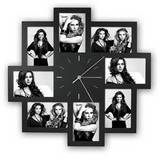 Trieste Black Multi Aperture Photo Frame and Clock for 8 6x4 Photos