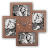 Bronte Wood Photo Frame and Clock for 4 6x4 Photos Overall Size